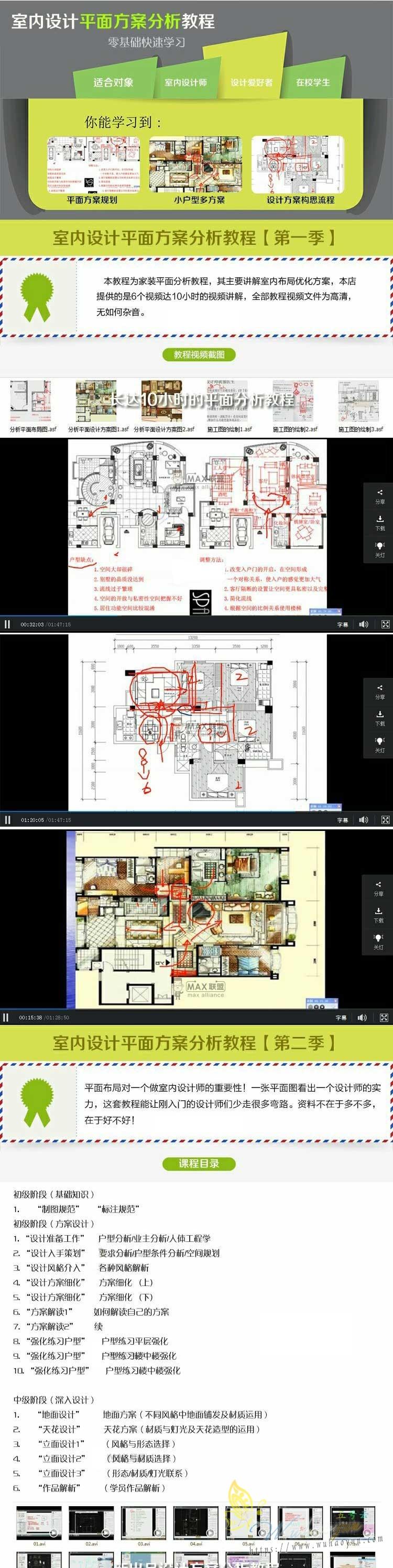 室内设计平面布局方案分析自学视频教程户型优化CAD布置图片素材