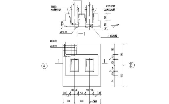 混凝土杯口基础结构详图CAD