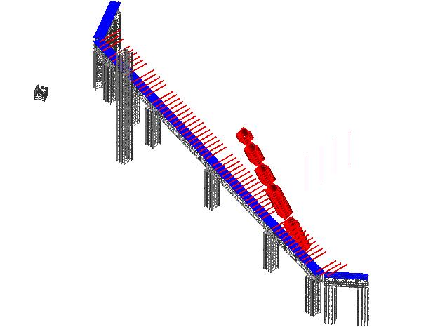 圆斜柱贝雷片支撑系统Revit模型