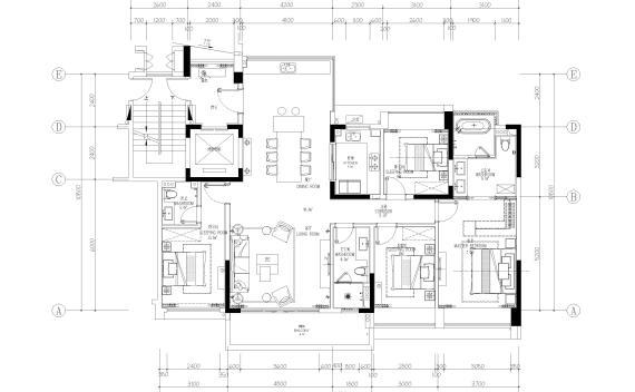 [海南]三亚154㎡现代四居家装样板间施工图