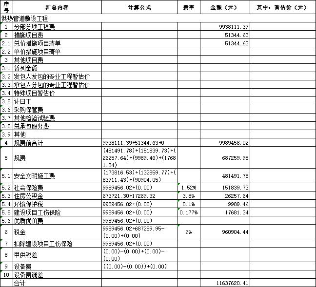 [青岛]供热管线工程量清单及招标控制价2020-单位工程投标报价汇总表_供热管道敷设工程