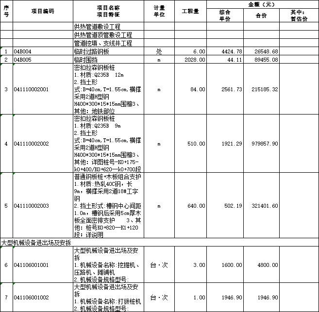 [青岛]供热管线工程量清单及招标控制价2020-单价措施项目清单与计价表