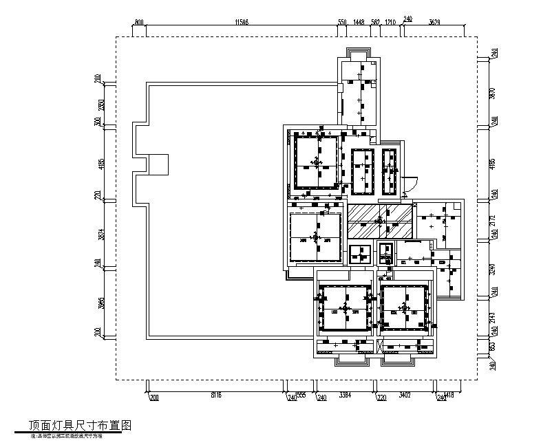 现代简约149㎡3室2厅2卫住宅装修施工图设计-灯具尺寸布置图