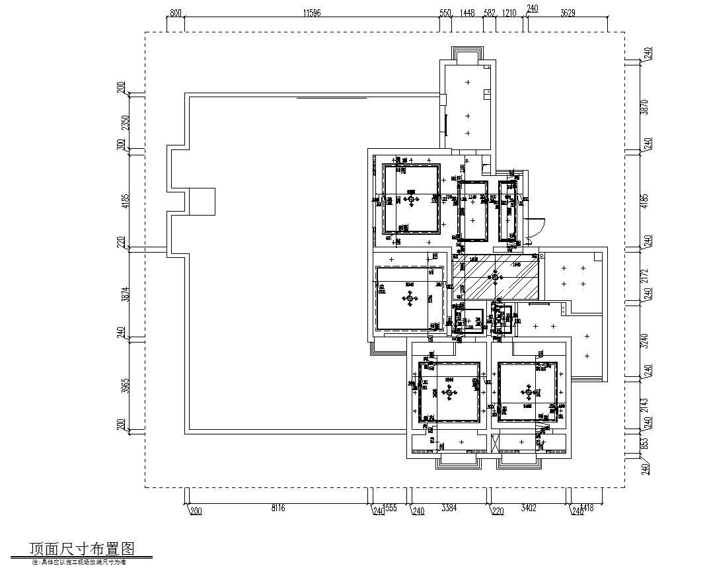 现代简约149㎡3室2厅2卫住宅装修施工图设计-顶面尺寸布置图