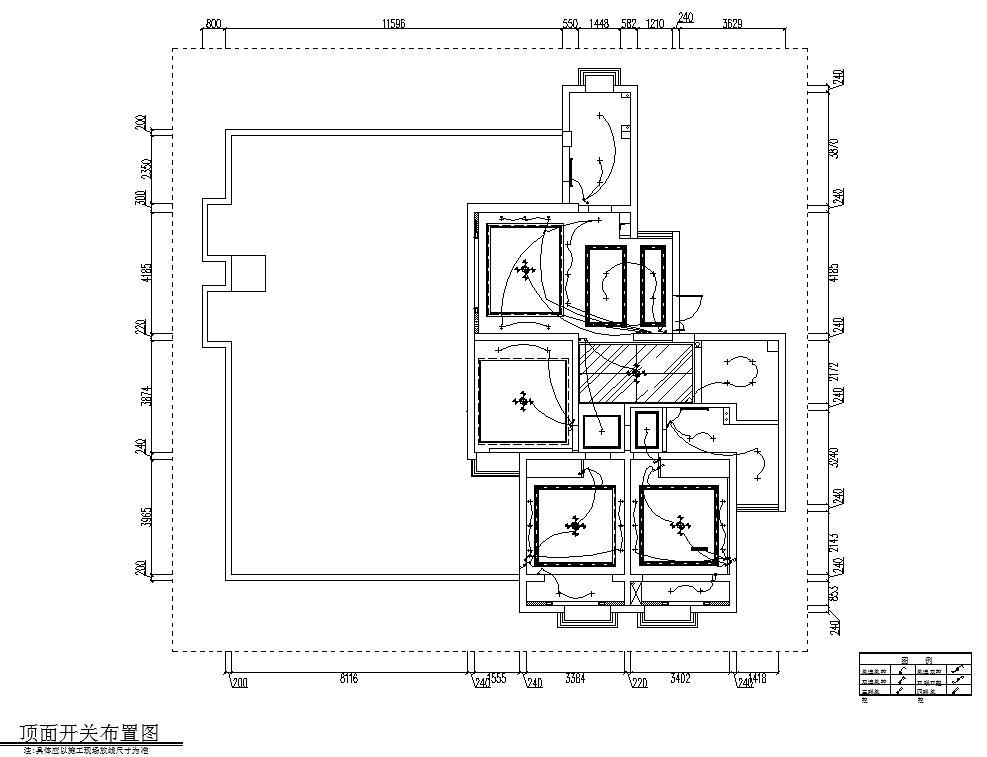 现代简约149㎡3室2厅2卫住宅装修施工图设计-顶面开关布置图