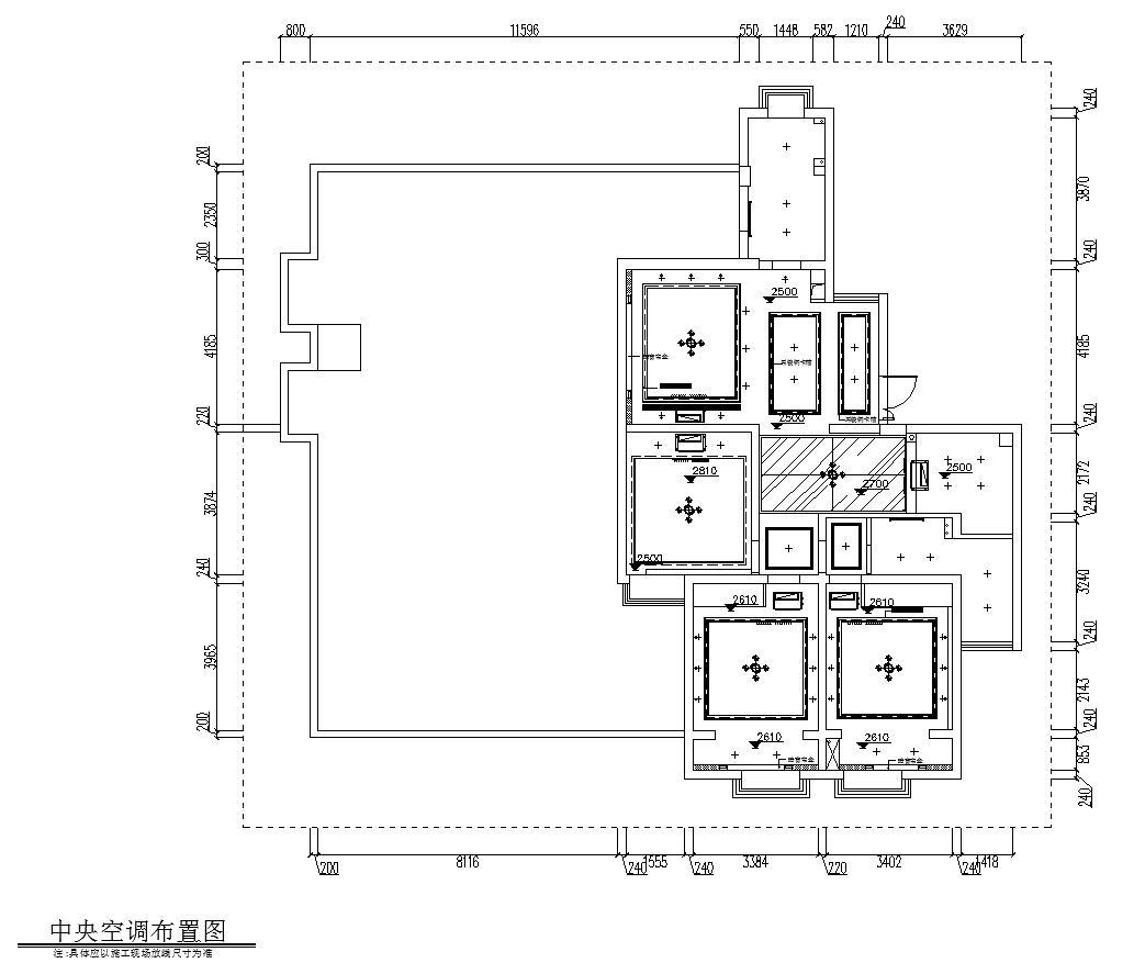 现代简约149㎡3室2厅2卫住宅装修施工图设计-中央空调布置图