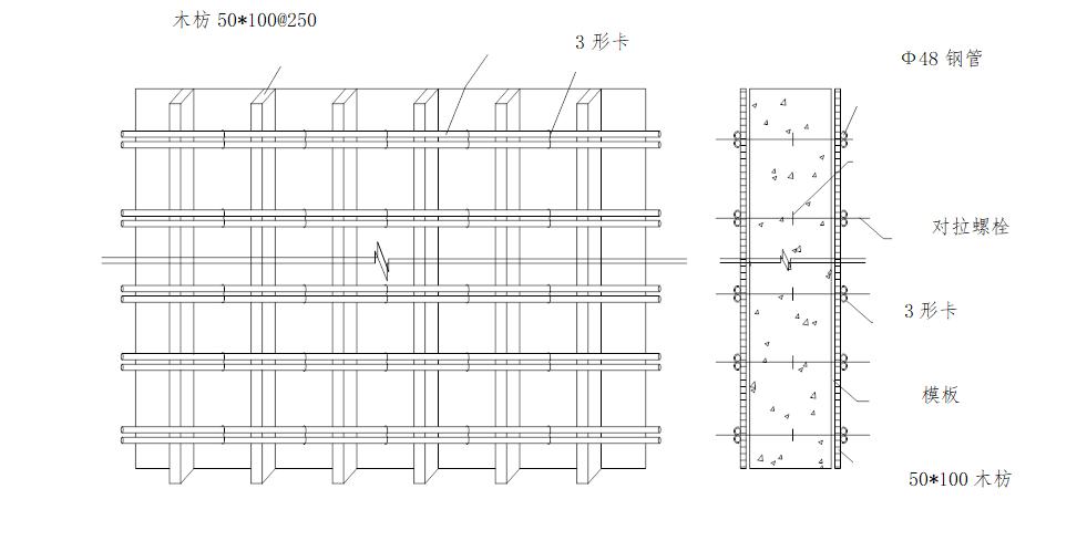 6层洋房模板及支撑体系安全专项施工方案-07 墙模板设计示意图