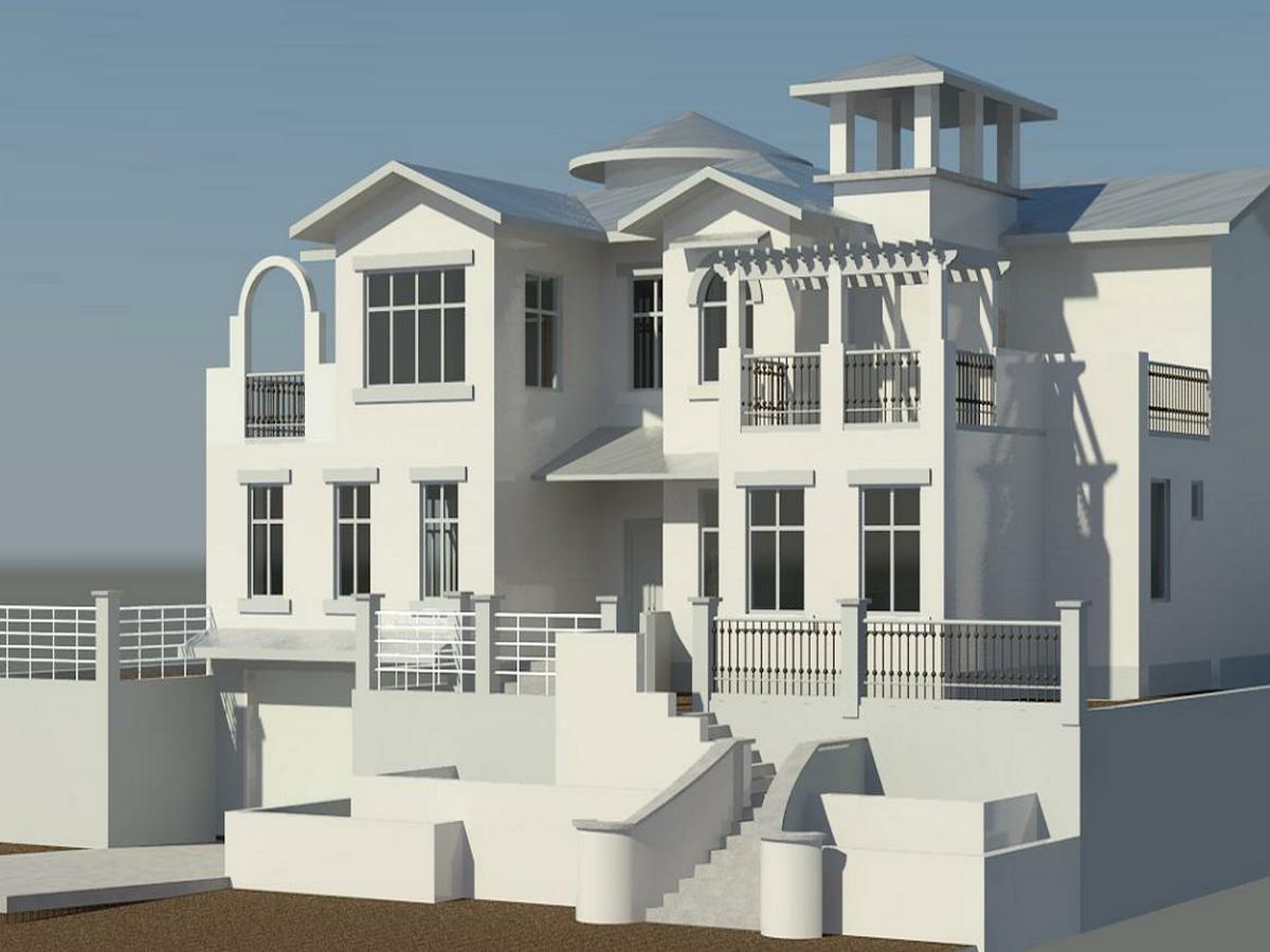 1BIM模型-revit模型-双层带车库别墅模型
