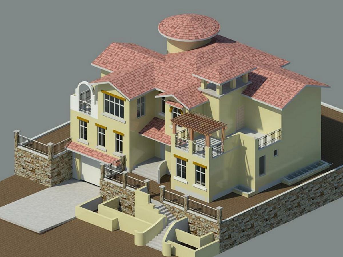 3BIM模型-revit模型-双层带车库别墅模型