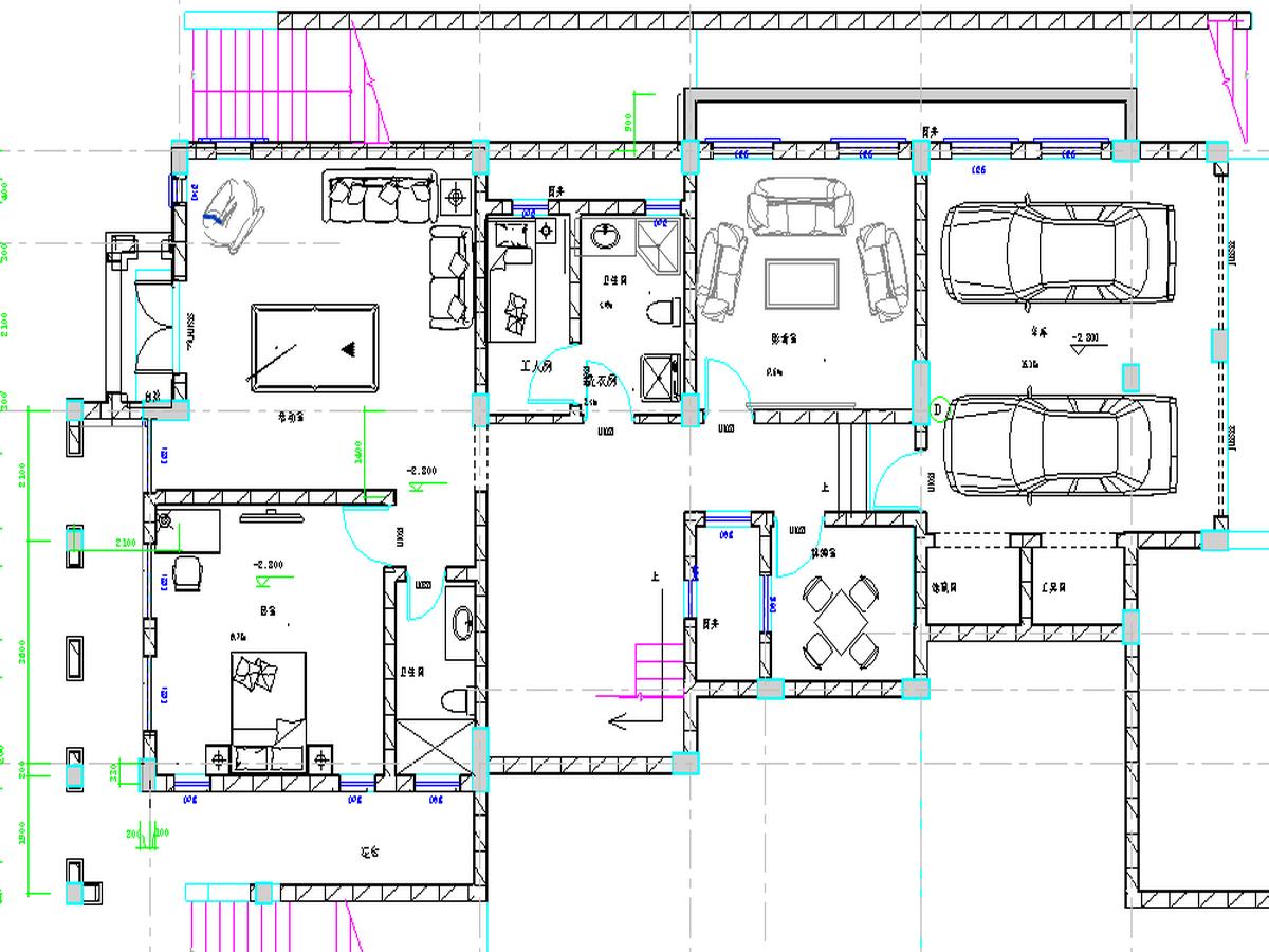 BIM模型-revit模型-双层带车库别墅模型-4双层带车库别墅平面图