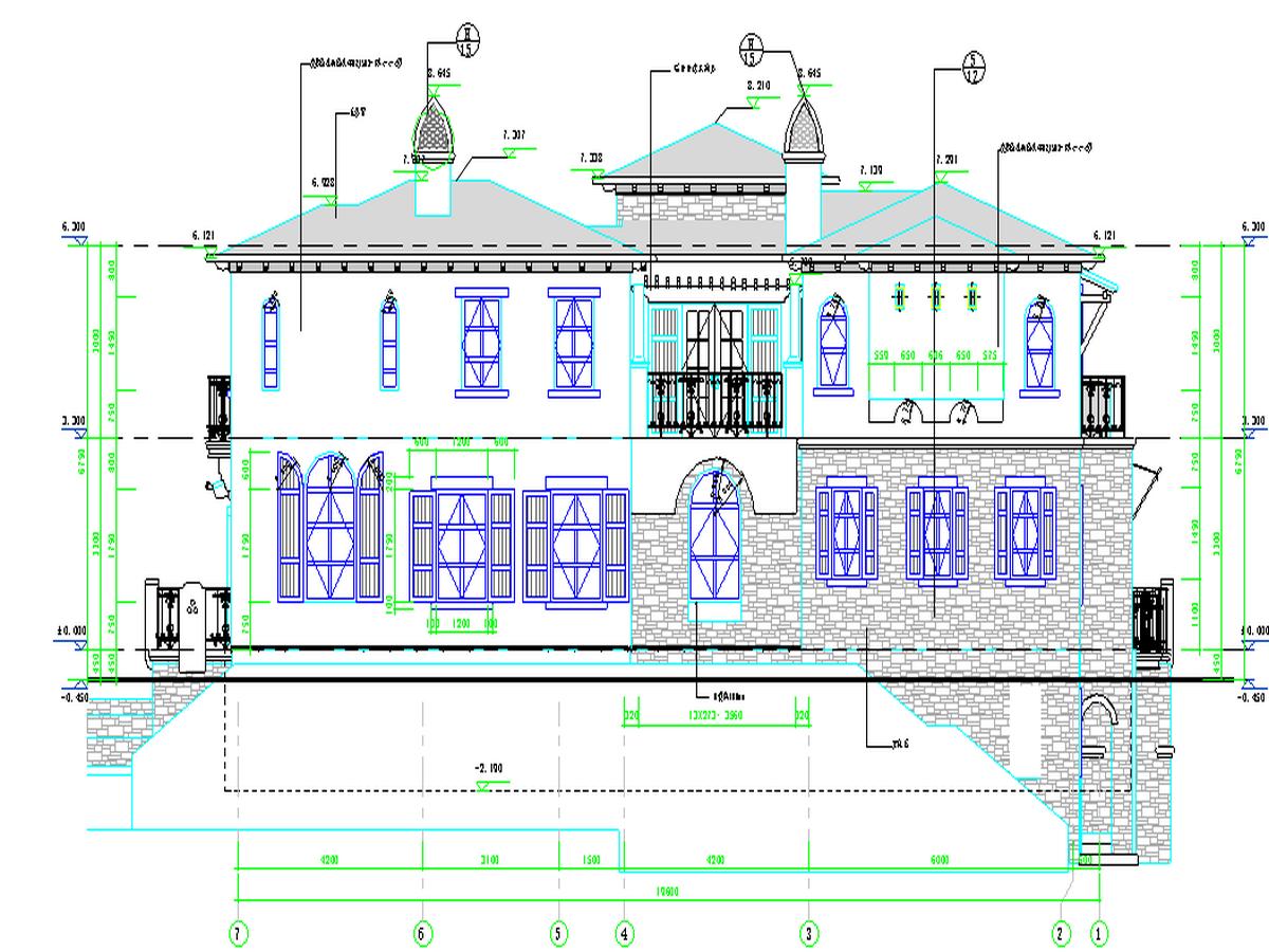 BIM模型-revit模型-双层带车库别墅模型-6双层带车库别墅二层立面图