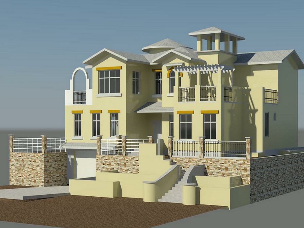 2BIM模型-revit模型-双层带车库别墅模型