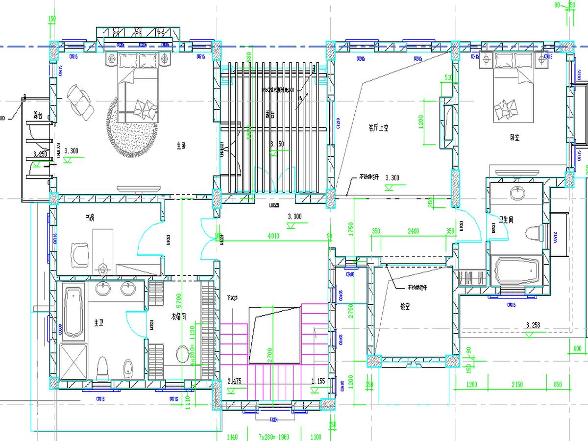 BIM模型-revit模型-双层带车库别墅模型-5双层带车库别墅二层平面图