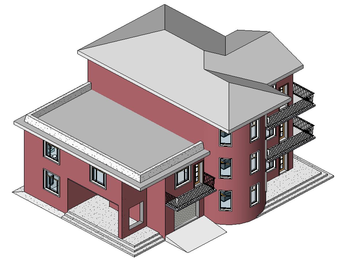 1BIM模型-revit模型-三层小别墅模型