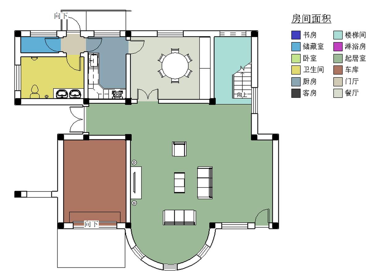 BIM模型-revit模型-三层小别墅模型-2三层小别墅房间面积分析