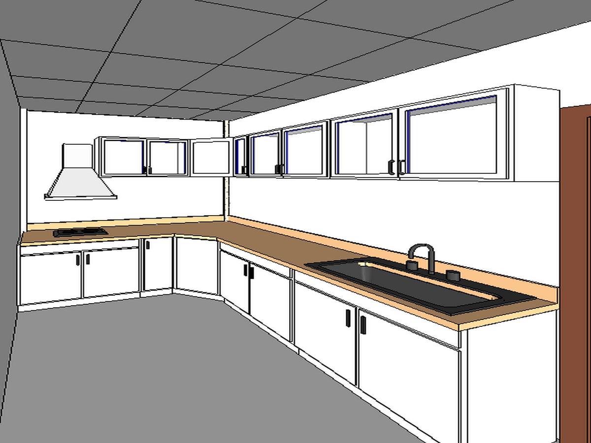 BIM模型-revit模型-三层小别墅模型-4三层小别墅厨房