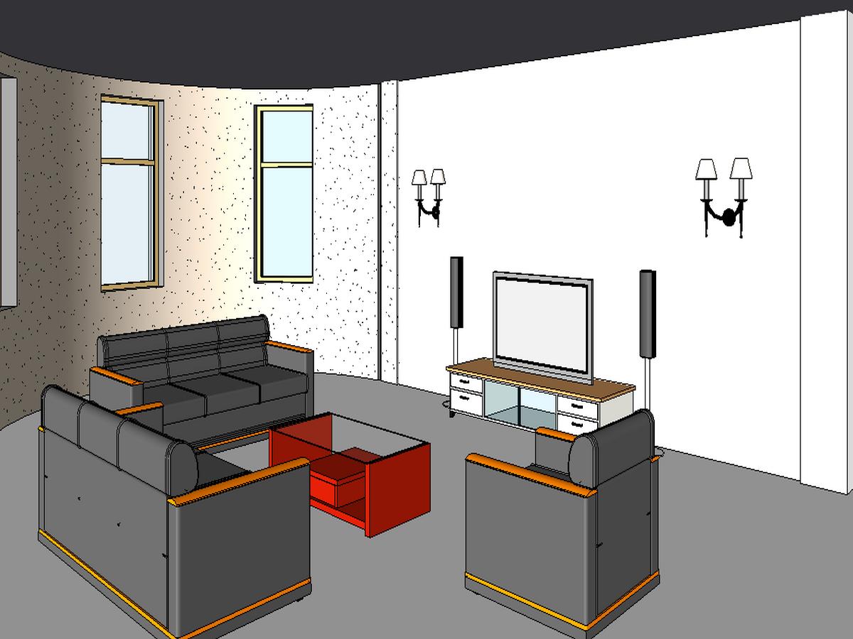 BIM模型-revit模型-三层小别墅模型-5三层小别墅客厅