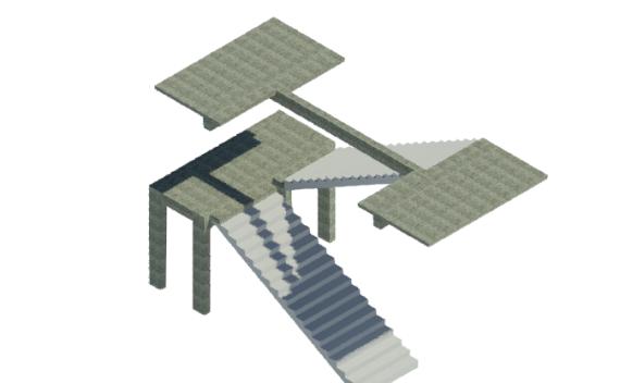 BIM结构单层楼梯标准构件单元模型(Rvt)