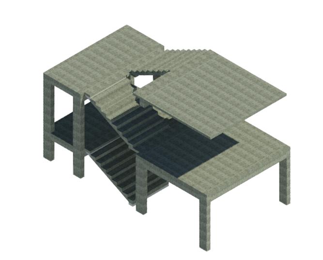 BIM结构单层楼梯标准构件单元模型(Rvt)-ST_四跑楼梯_标准层_5.1m_4x9_280x141.67