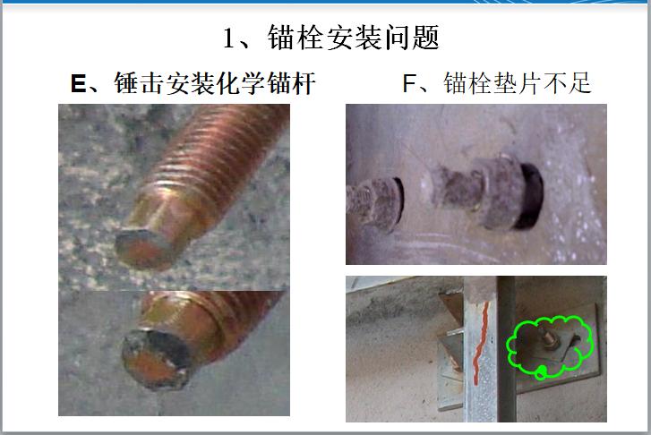 干挂石材工程常见问题及安全案例分析(PPT)-锚栓安装问题