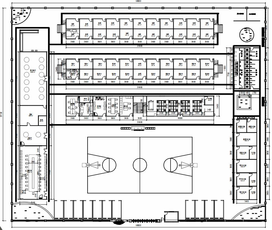 房建项目标准化80人规模四合院Revit模型_2