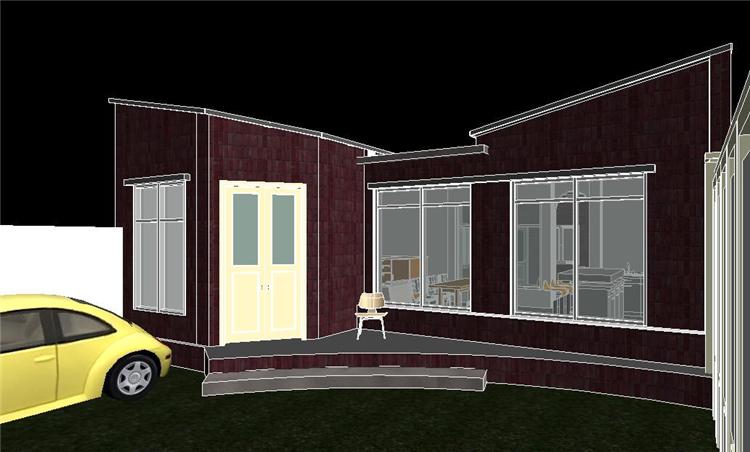 单层时尚别墅revit模型_3