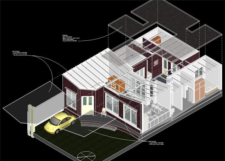 单层时尚别墅revit模型_4