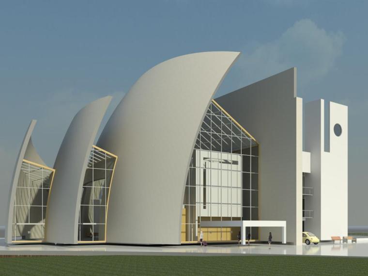 现代化大教堂revit模型_1
