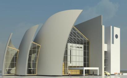 现代化大教堂revit模型