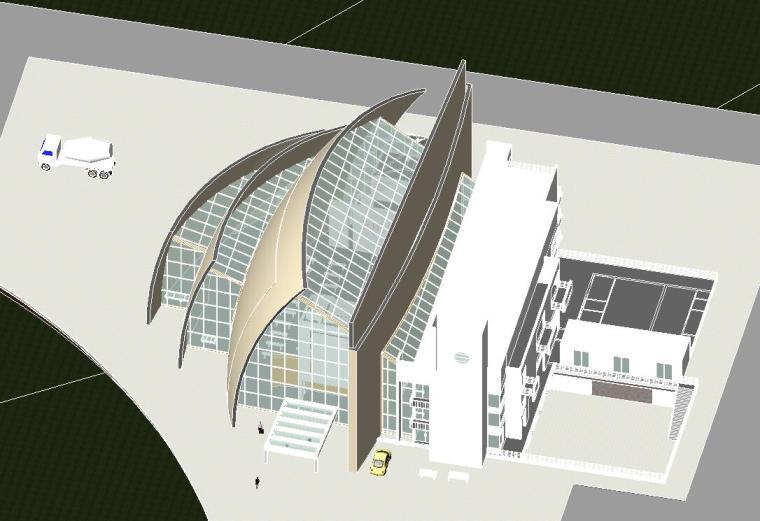 现代化大教堂revit模型_3