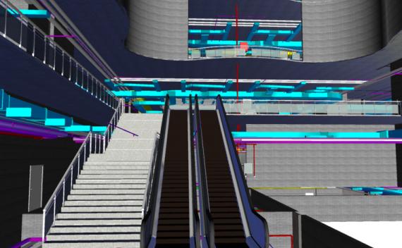 多层图书馆revit土建模型(含管综)