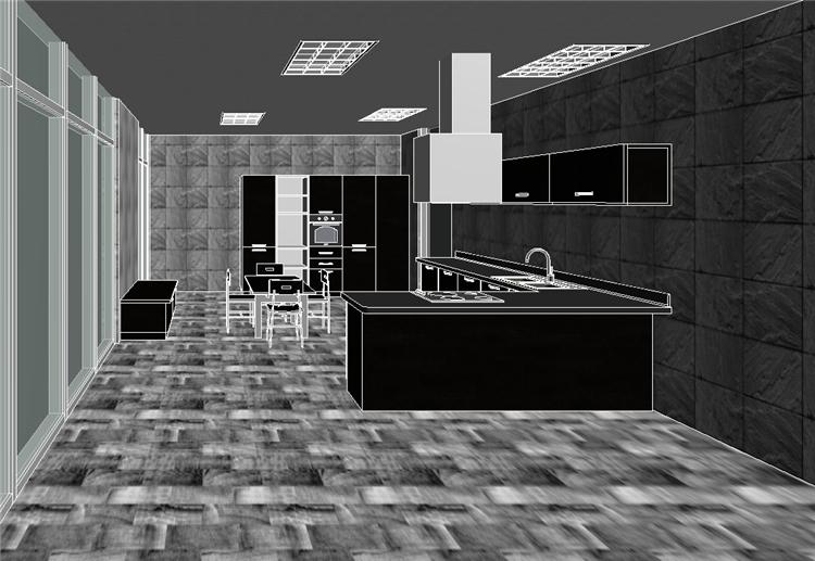 现代风开放式厨房餐厅revit模型_3